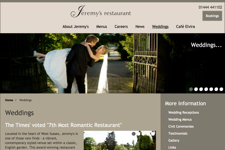Jeremy's Restaurant Wedding Venue link